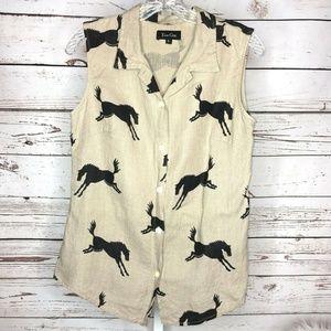 True Grit horse print button front linen blouse
